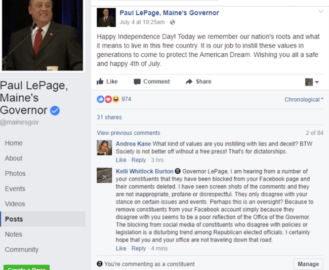ACLU of ME sues Gov. LePage over 'Facebook censorship'