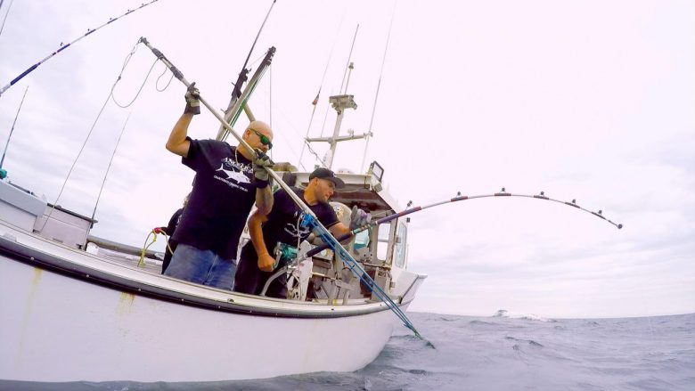 39243369bd4e5 Gloucester Captain Dave Marciano and first mate Joe Marciano aboard their  boat Hard Merchandise hunt the tuna in National Geographic Channel s  television ...