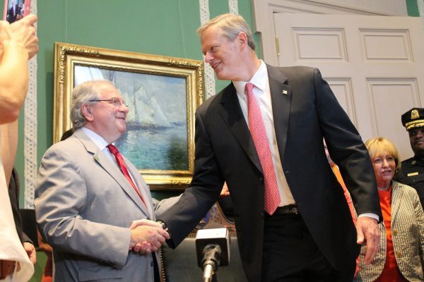 Charlie Baker and Bob DeLeo Photo — 'Red Flag' Gun Control Bill Signing — State House News Service — Saved Wednesday 7-4-2018