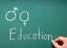 A chalkboard represention sex education in school.