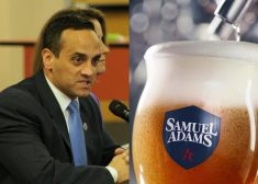Joe Curtatone and Samuel Adams Beer Glass Photo — The Winner — Saved Tuesday 8-14-2018