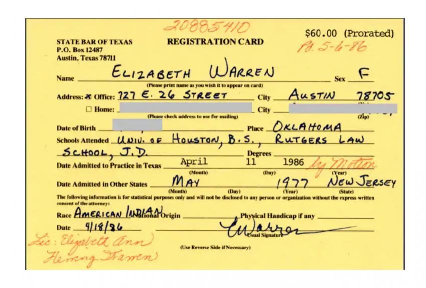 Elizabeth Warren Claimed To Be 'American Indian' in 1986