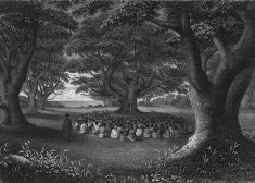 Hawaii Missionaries Preaching Under Kukui Groves Drawing — 1841 — Wikipedia — Saved Wednesday 10-30-2019