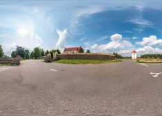 full seamless spherical hdri panorama 360 degrees angle view on parking near stone fence  small catholic church in equirectangular projection, ready AR VR content