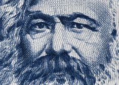 Karl Marx portrait on East German 100 mark (1975) banknote closeup macro, famous philosopher, economist, political theorist, sociologist and revolutionary socialist..